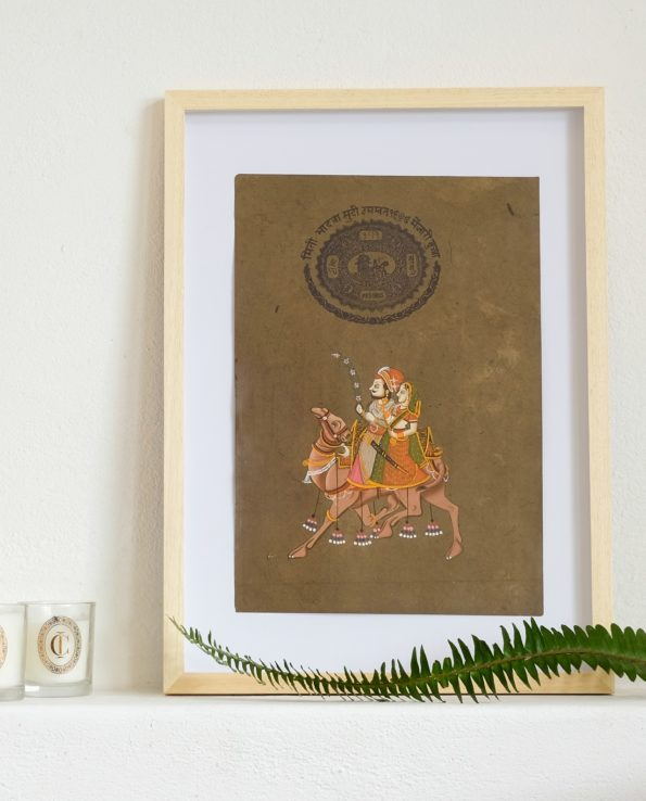 Miniature Indian painting on old postage paper – Maharajah and Maharani