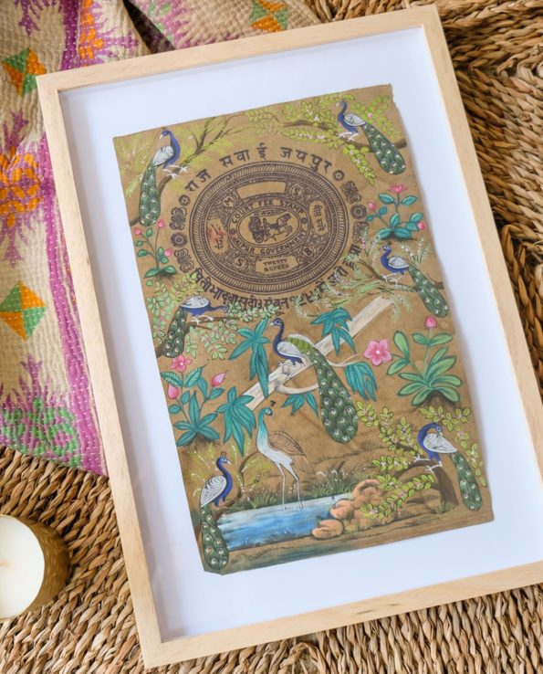 Indian painting on old stamp paper – Peacocks W32cm | H44cm