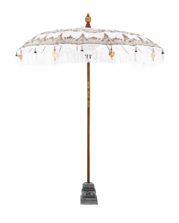 Balinese Ceremonial Umbrella – White and Gold Stand