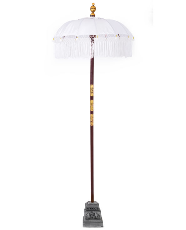 Balinese ceremonial umbrella with tassels white (NO BASE) – small 230hx100w