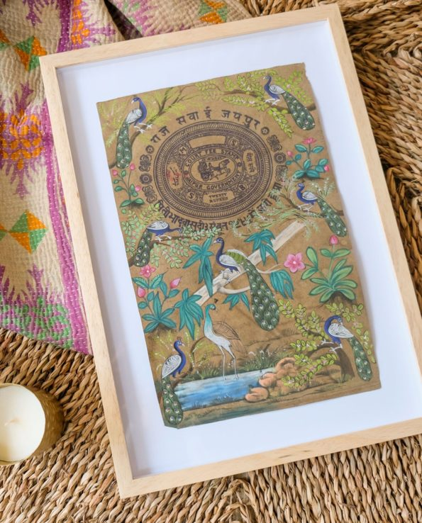 Miniature Indian painting on old postage paper – Peacocks