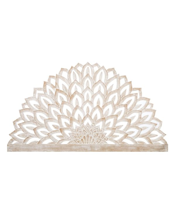Lotus flower carved king size headboard 100hx180w