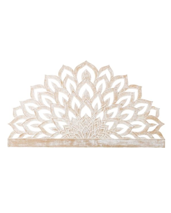 Lotus flower carved queen size headboard 82hx150w