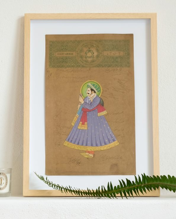 Miniature Indian painting on old postage paper – Maharajah purple