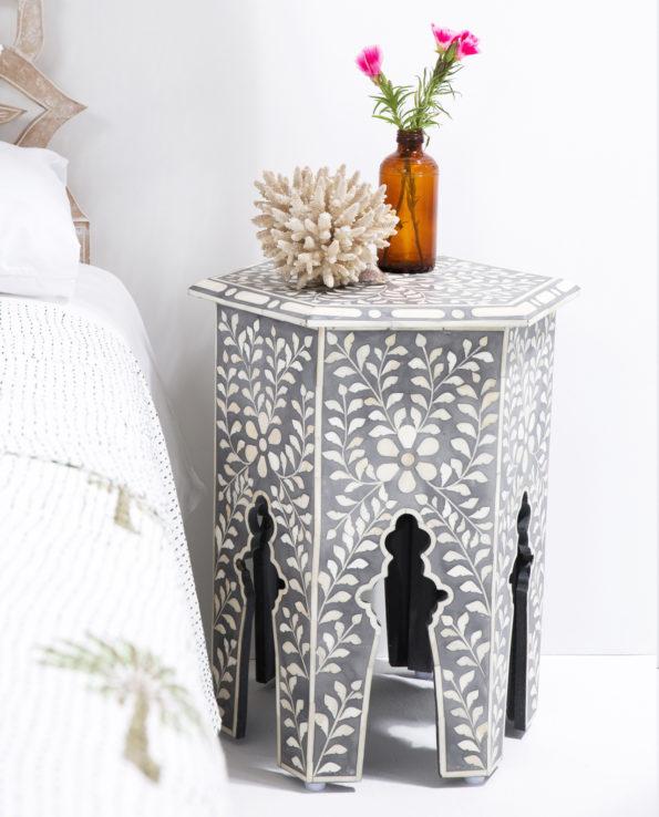 Udaipur inlay hexagon side table – grey 55×41