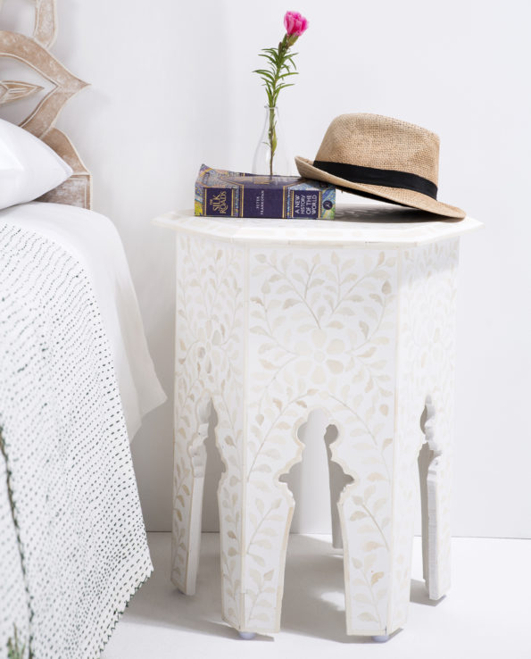 Udaipur inlay hexagon side table – white 55×41