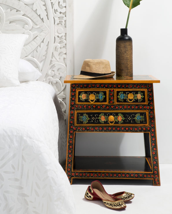 Kashni hand-painted bedside table 60x55x45