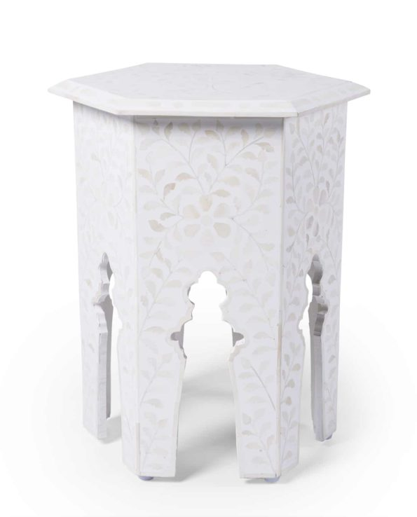 Udaipur inlay hexagon side table – white