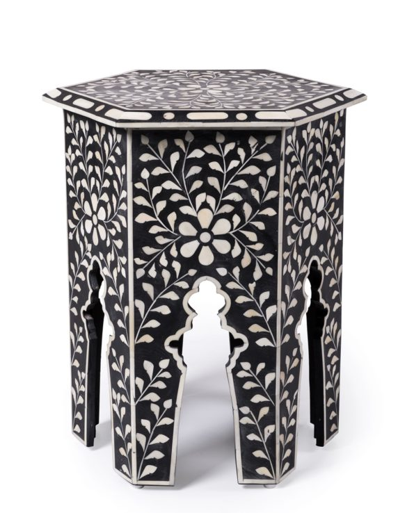 Udaipur inlay hexagon side table – black 55×41