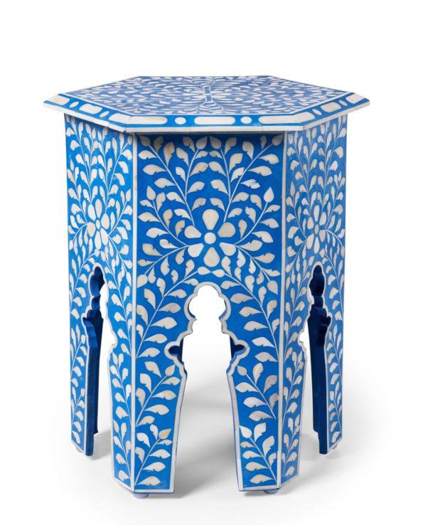 Udaipur inlay hexagon side table – blue 55×41
