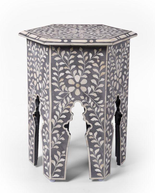 Udaipur inlay hexagon side table – grey