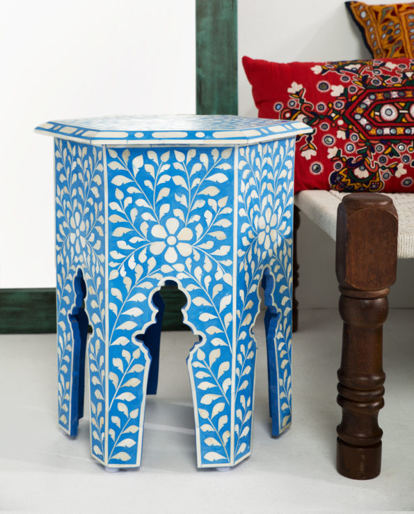 Udaipur inlay hexagon side table – blue 55×41