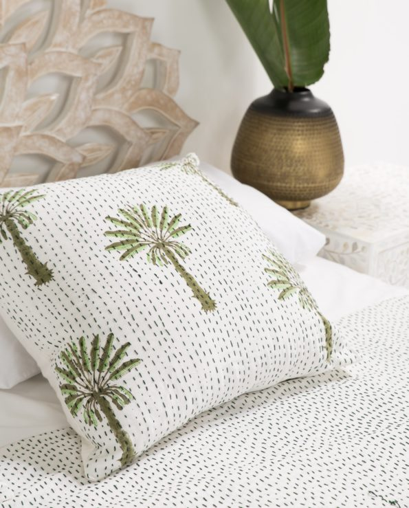 Tropical palms block printed cushion with feather down inner