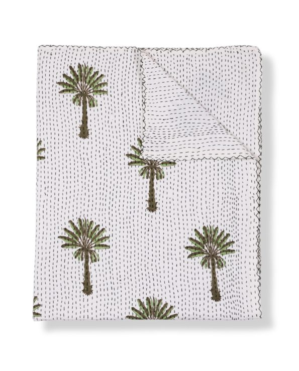 Tropical palms block printed kantha quilt