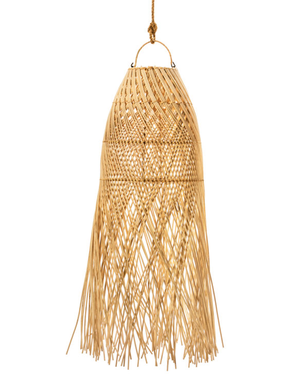 Rattan pendant with tassels long 90h x 30w