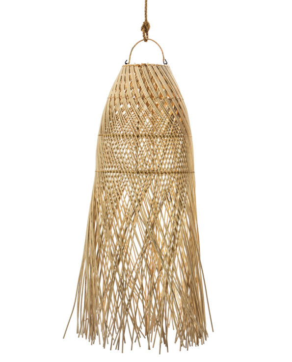 Rattan pendant with tassels long 90hx30w