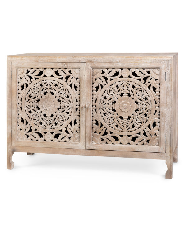 Indah hand carved buffet white washed 138cmx50cmx97cm