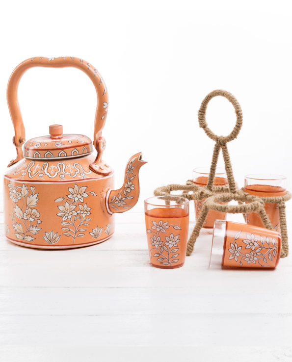 Jaipur hand-painted teapot and chai glasses set