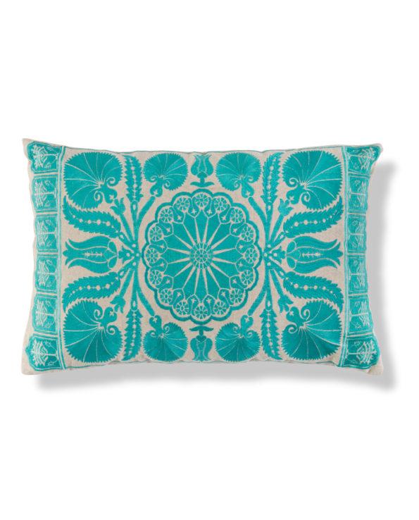 Suzani cushion 60cm x 40cm – sky blue