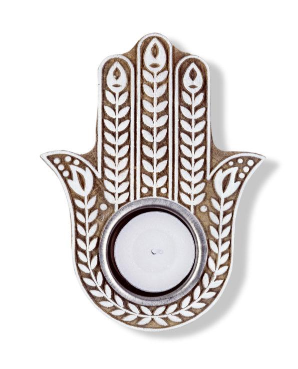 Hand-carved Hamsa hand tea light holder 3Hx14Lx10W
