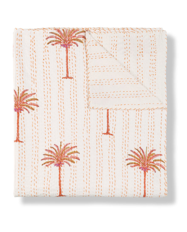 Tropical sunset palms block printed kantha quilt