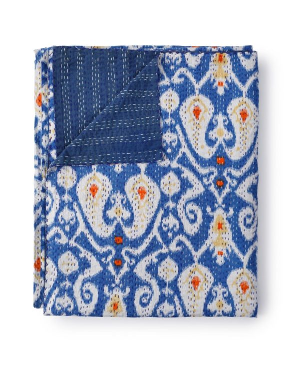 Ikat paisley kantha quilt queen size – ink blue