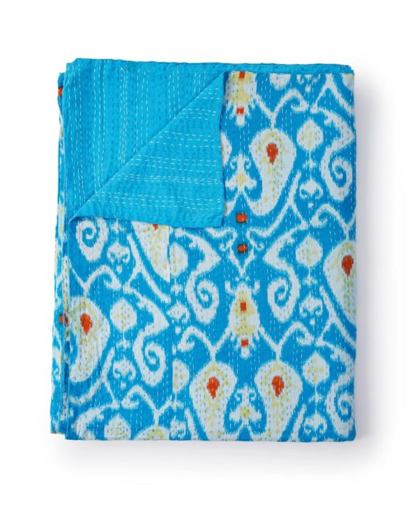 Ikat paisley kantha quilt – sky blue