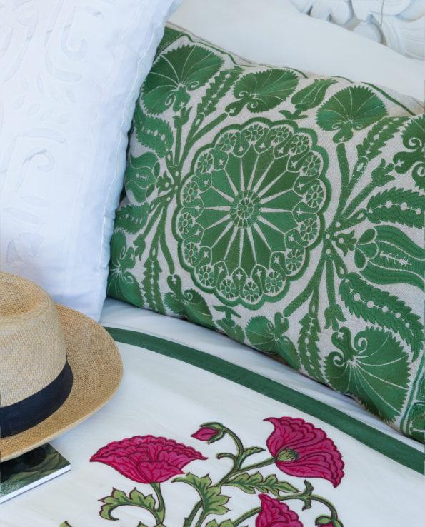 Suzani cushion 60cm x 40cm – forest green