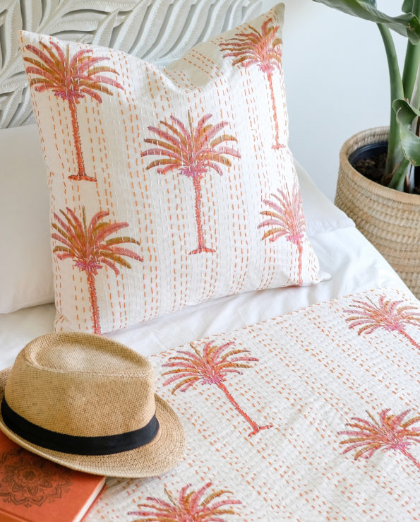 Tropical sunset palms block printed cushion with feather down inner 50x50cm