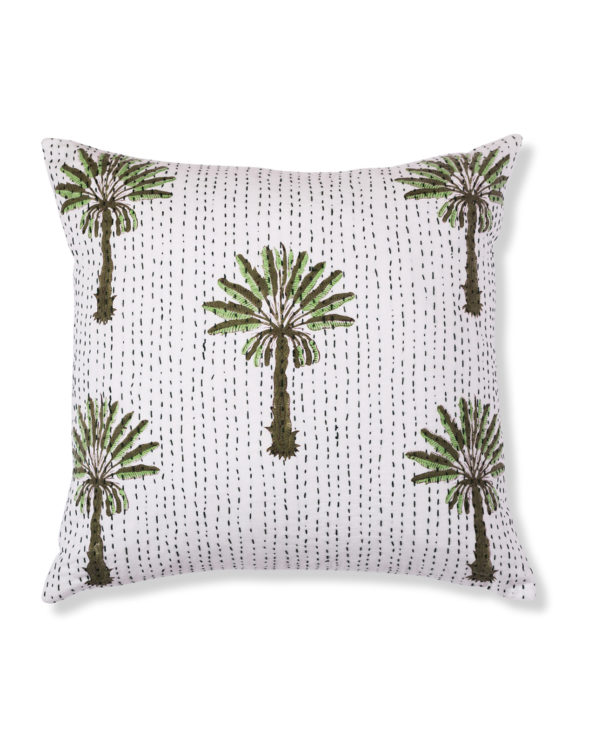Tropical palms block printed CUSHION COVER (NO INNER) 50cm x 50cm