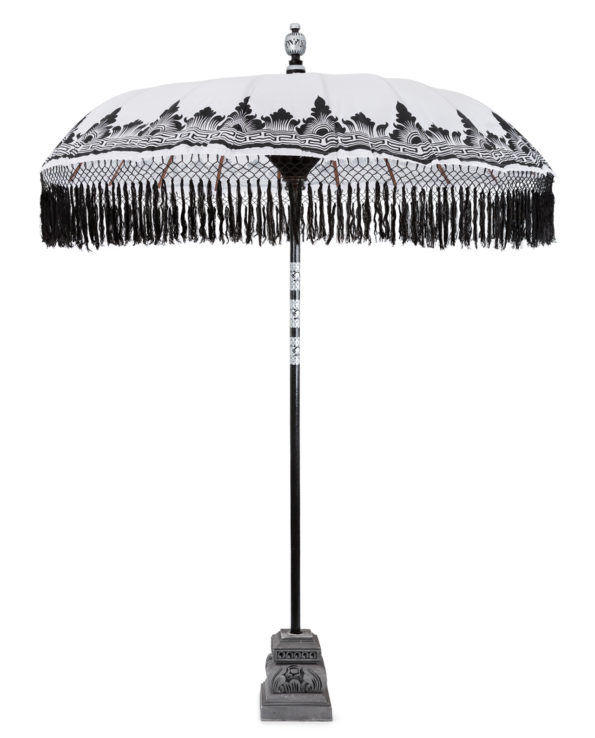 Balinese ceremonial umbrella and stand black and white  – Big 230hx200w