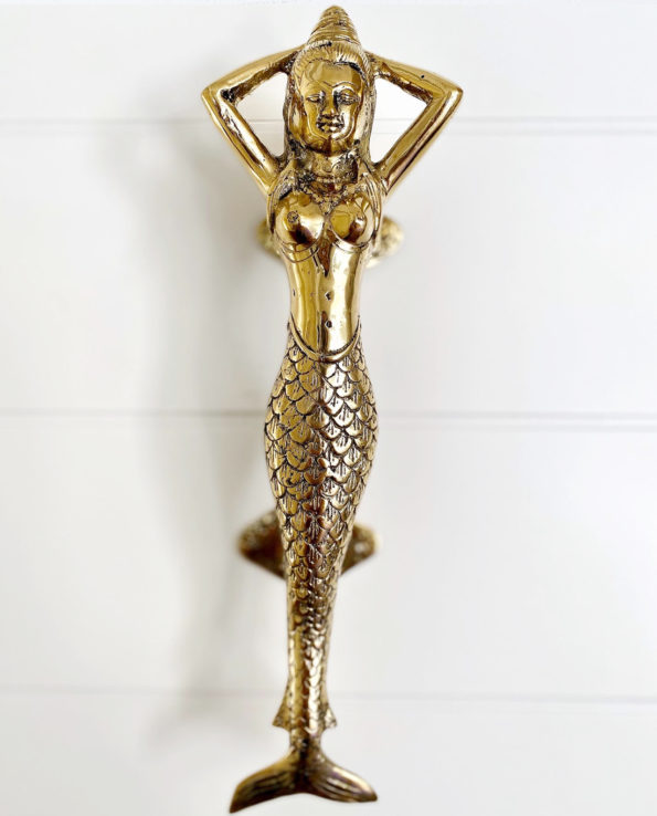 Mermaid brass doorhandle size 32cm L x 9.5 W