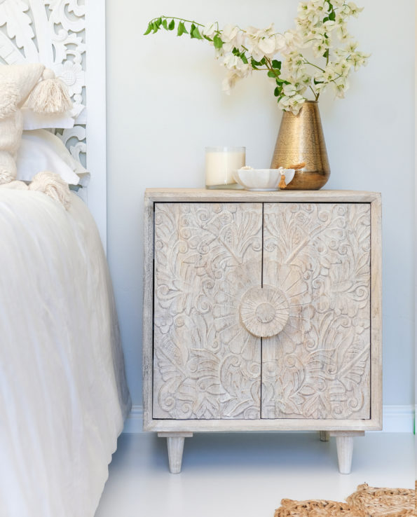 Hand-carved Lotus flower white washed bedside table 60x50x40cm